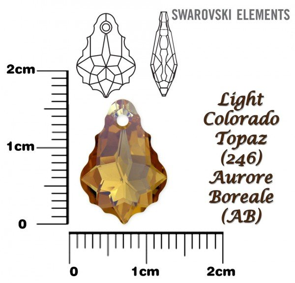 SWAROVSKI 6090 LIGHT COLORADO TOPAZ AB 16x11mm