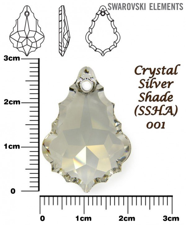 SWAROVSKI 6091 CRYSTAL SILVER SHADE 28mm