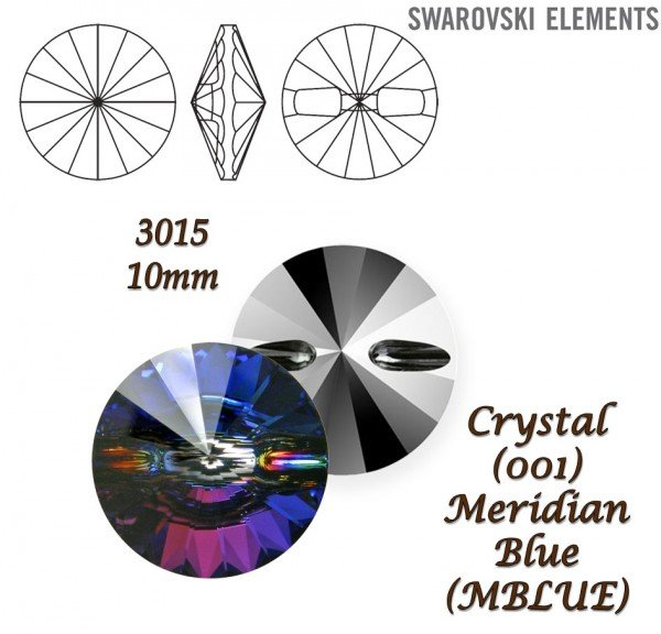 SWAROVSKI Buttons 3015 CRYSTAL MERIDIAN BLUE 10mm