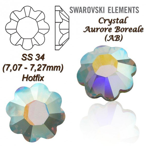 SWAROVSKI ELEMENTS 2728 HOTFIX SS34 CRYSTAL AB
