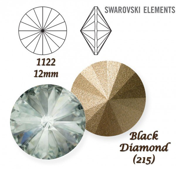 SWAROVSKI RIVOLI 1122 BLACK DIAMOND 12mm