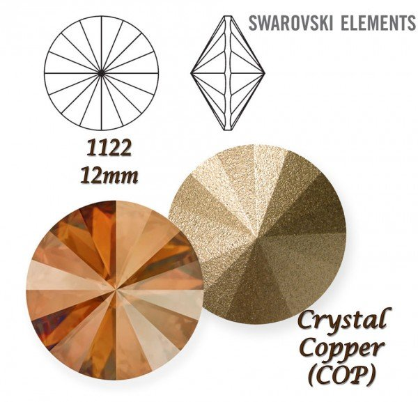 SWAROVSKI RIVOLI 1122 CRYSTAL COPPER 12mm