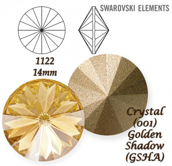 SWAROVSKI RIVOLI 1122 CRYSTAL GOLDEN SHADOW 14mm