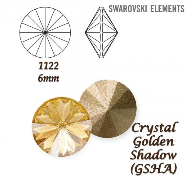 SWAROVSKI RIVOLI 1122 CRYSTAL GOLDEN SHADOW 6mm