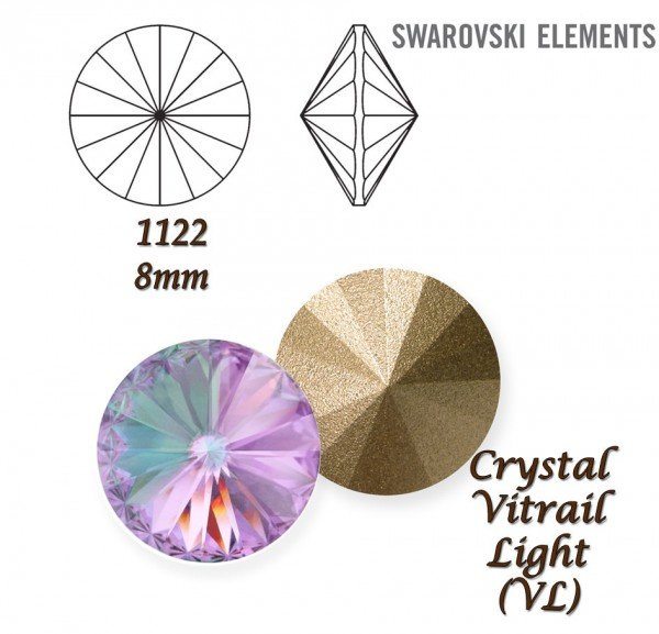 SWAROVSKI RIVOLI 1122 CRYSTAL VITRAIL LIGHT 8mm