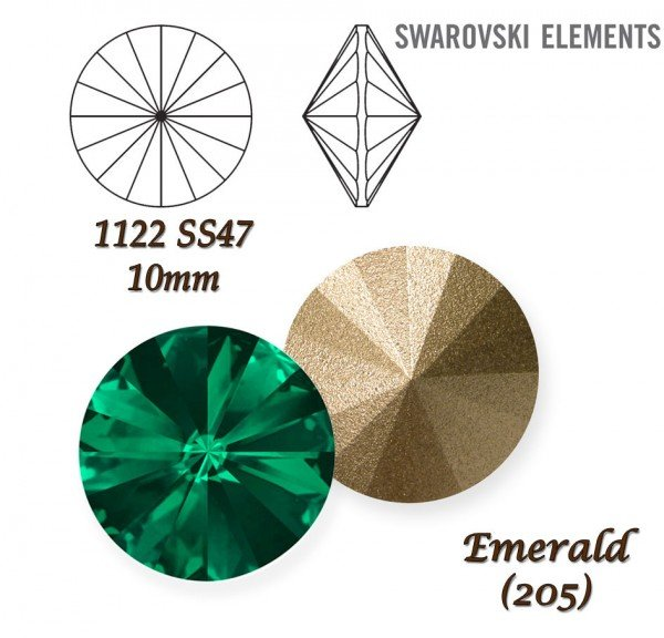 SWAROVSKI RIVOLI 1122 EMERALD  10mm