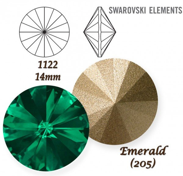 SWAROVSKI RIVOLI 1122 EMERALD 14mm