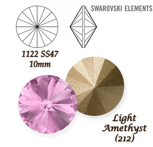 SWAROVSKI RIVOLI 1122 LIGHT AMETHYST 10mm