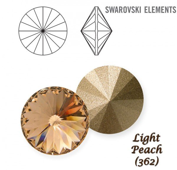 SWAROVSKI RIVOLI 1122 LIGHT PEACH 10mm