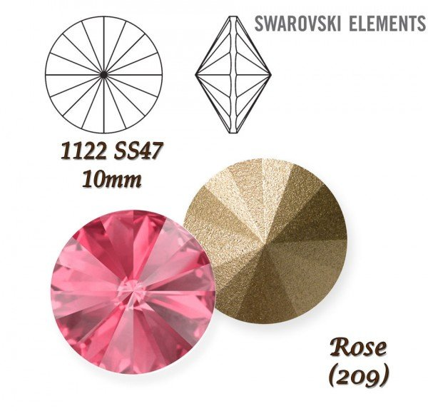 SWAROVSKI RIVOLI 1122 ROSE  10mm