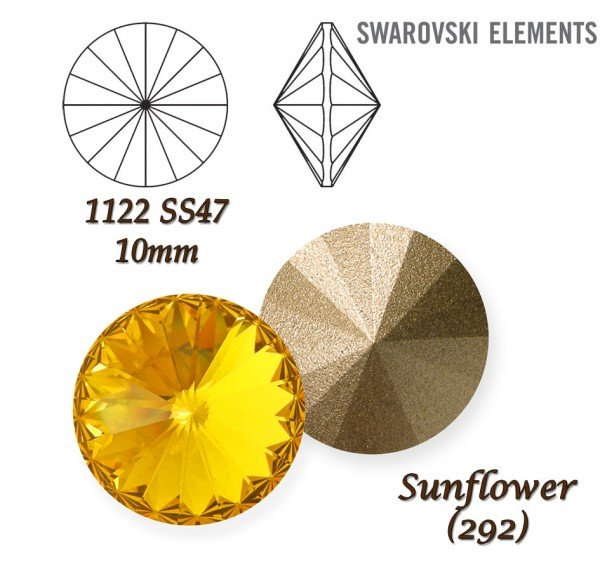 SWAROVSKI RIVOLI 1122 SUNFLOWER  10mm