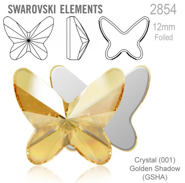 Swarovski 2854 Butterfly Flat Back 12mm Golden Sha