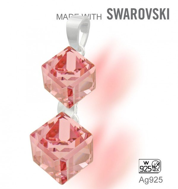 Swarovski 4841 Light Rose 6+8mm + slupna Ag925