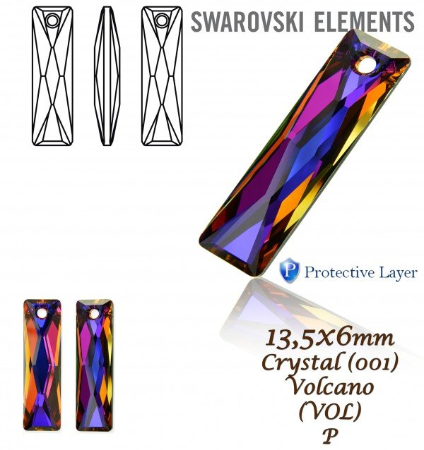 Swarovski 6465 Queen Baguette Pendant Crystal Volcano P. Velikost 13 ... ca64c1f3e93