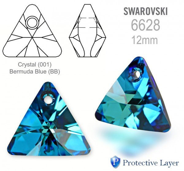 Swarovski 6628 Triangle 12mm Bermuda Blue