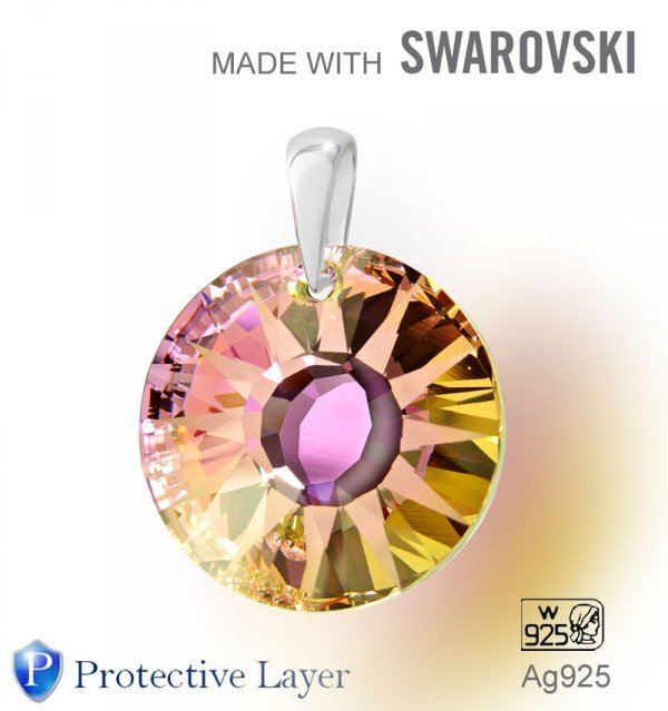 Swarovski 6724 Vitrail Light 19mm+slupna Ag