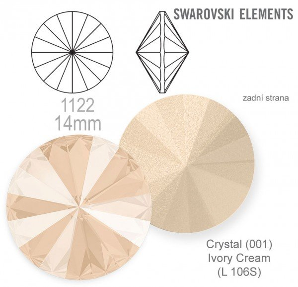 Swarovski rivoli 1122 Crystal Ivory Cream 14mm