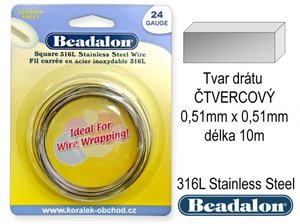 BEADALON drat  CTVEREC  0-51 x 0-51mm delka 10m