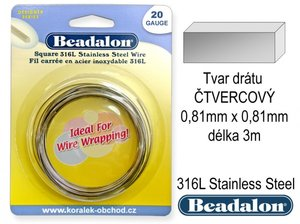 BEADALON drat CTVEREC 0-81 x 0-81mm delka 3,0m