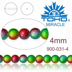 MIRACLE beads JAPAN 4mm 031 RAINBOW MULTI TONE