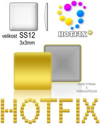 NAILHEAD HOTFIX kovove SS12 SQUARE color 002 GOLD