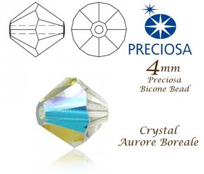 PRECIOSA Bicone MC BEAD 4mm CRYSTAL AB