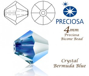 PRECIOSA Bicone MC BEAD 4mm CRYSTAL BERMUDA BLUE