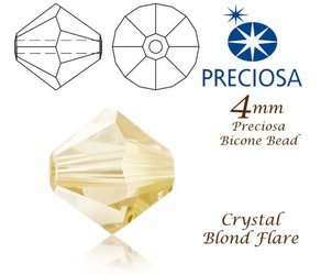PRECIOSA Bicone MC BEAD 4mm CRYSTAL BLOND FLARE