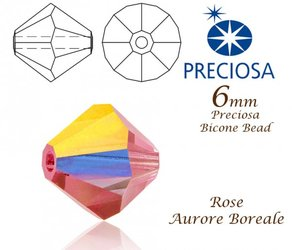 PRECIOSA Bicone MC BEAD 6mm ROSE AURORE BOREALE