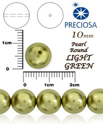 PRECIOSA Pearl Round LIGHT GREEN vel-10mm