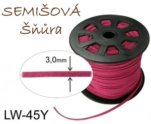 SEMISOVA SNURA PLOCHA 3mm LW-45Y RED WINE