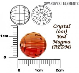 SWAROVSKI 5005 Chessboard Bead RED MAGMA 12mm