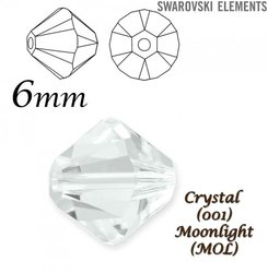 SWAROVSKI 5328 BEAD  CRYSTAL MOONLIGHT  6mm