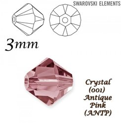 SWAROVSKI 5328 BEAD ANTIQUE PINK. 3mm