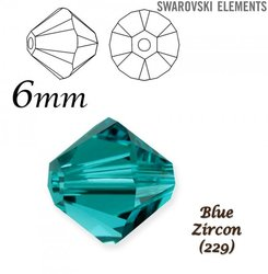 SWAROVSKI 5328 BEAD BLUE ZIRCON 6mm