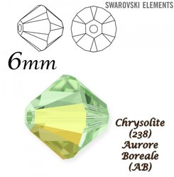 SWAROVSKI 5328 BEAD CHRYSOLITE AB 6mm