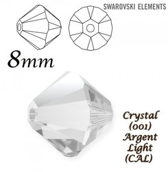 SWAROVSKI 5328 BEAD CRYSTAL ARGENT LIGHT  8mm