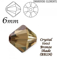 SWAROVSKI 5328 BEAD CRYSTAL BRONZE SHADE  6mm