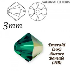 SWAROVSKI 5328 BEAD EMERALD AB 3mm