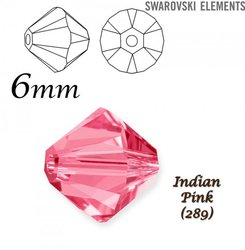 SWAROVSKI 5328 BEAD INDIAN PINK  6mm