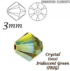 SWAROVSKI 5328 BEAD IRIDESCENT GREEN 3mm