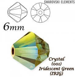 SWAROVSKI 5328 BEAD IRIDESCENT GREEN 6mm