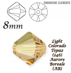 SWAROVSKI 5328 BEAD LIGHT COLORADO TOPAZ AB 8mm