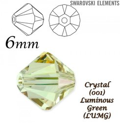 SWAROVSKI 5328 BEAD LUMINOUS GREEN. 6mm