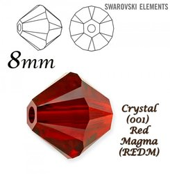 SWAROVSKI 5328 BEAD RED MAGMA  8mm