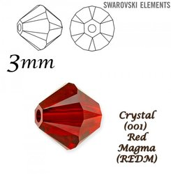SWAROVSKI 5328 BEAD RED MAGMA. 3mm