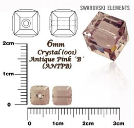 SWAROVSKI 5601 CUBE Bead ANTIQUE PINK 6mm