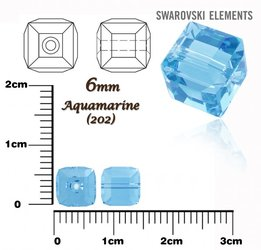 SWAROVSKI 5601 CUBE Bead AQUAMARINE 6mm