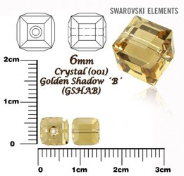 SWAROVSKI 5601 CUBE Bead GOLDEN SHADOW 6mm