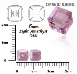 SWAROVSKI 5601 CUBE Bead LIGHT AMETHYST 6mm